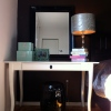 IKEA LEKSVIK desk with Asian inspired garden stool double-duty desk nightstand
