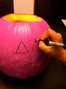 drawing on a pumpkin