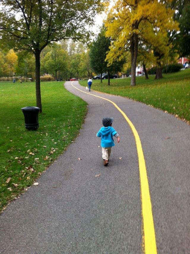 Running after a dog