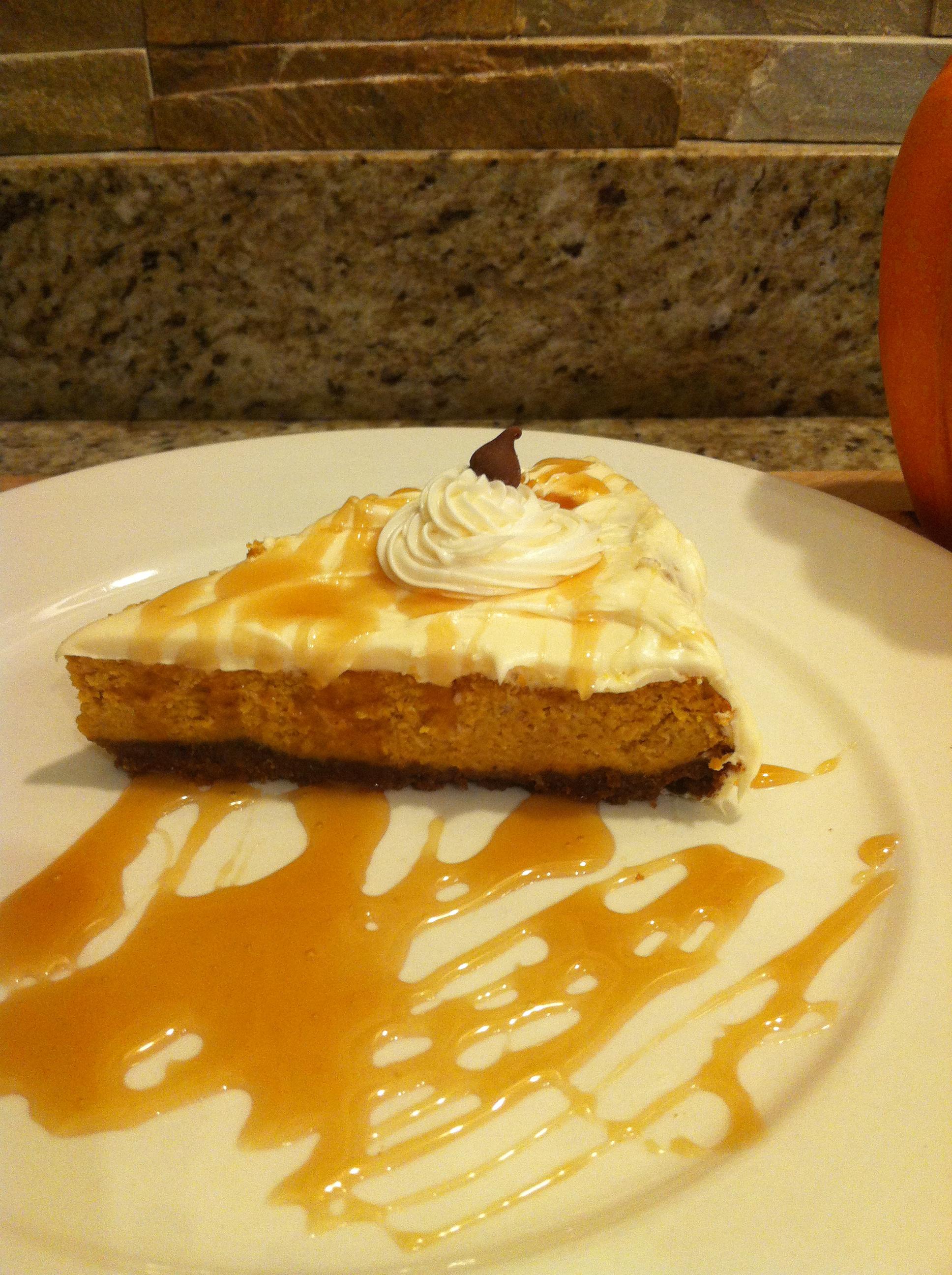pumpkin cheesecake and whipped cream