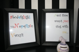 black frames with alphabet